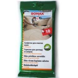 SONAX 415600 Салфетки для гладкой кожи Leder Pflegetucher, 10шт