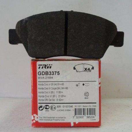 TRW Колодки тормозные передние GDB3375 (Honda Civic)