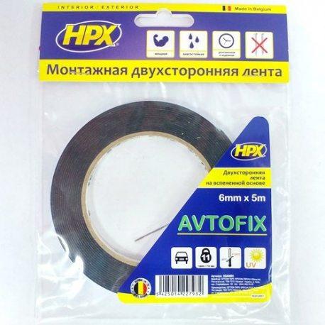 Стрічка двохстороння AUTOFIX 6ммх5м чорна (пакет) (DSA0605)