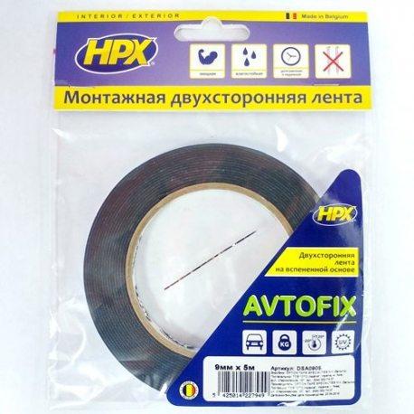 Лента двухсторонняя AUTOFIX 9ммх5м черная (пакет) (DSA0905)
