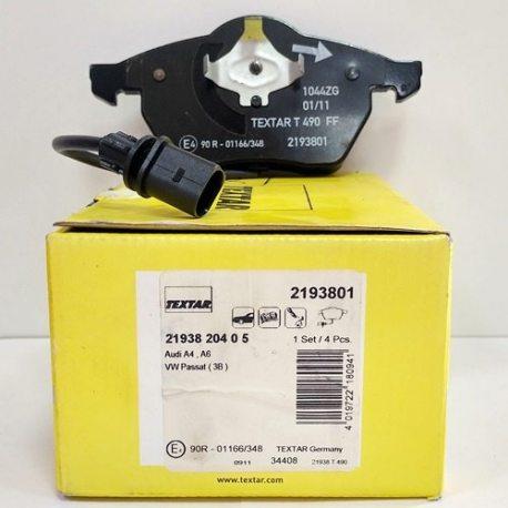Колодки тормозные Textar передние 2193801/21938 204 0 5 (Audi, VW)