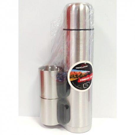 Термос, 1л из 2 чашками с двойными стенками, нержавеющая сталь KOOPMAN (234025)